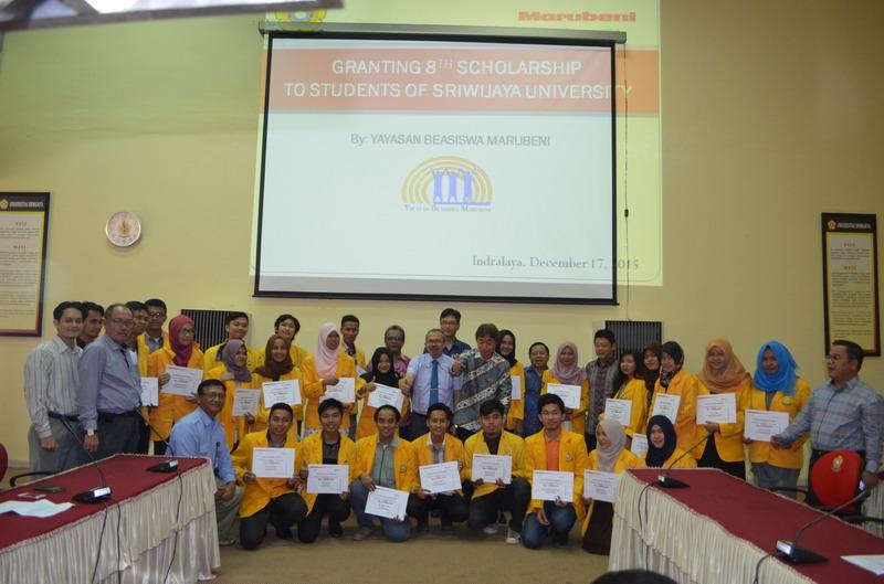Granting 8th Year Scholarship to Sriwijaya University Dec 17, 2015.